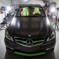 Mercedes cclass 204 c63 amg orange  green leather seats