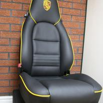 Porsche 911 black leather seat with yellow piping 1