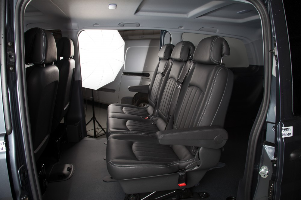 Mercedes Vito Black Leather Seats With White Stitching