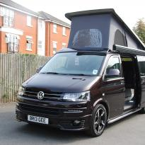 Volkswagen T5 Van Converted Campervan Black Leather With Purple Inserts