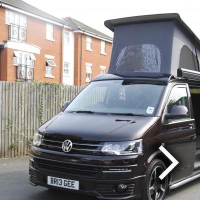 Volkswagen T5 Van Converted Campervan Black Leather With Purple Inserts