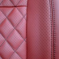Merc 166 ml sport dark red nappa quilted with black stitching 011
