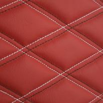 Quilted red leather with white & black double stitching