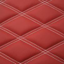 Quilted red leather with white double stitching