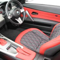 Bmw e89 z4 roadster black with quilted red inserts(4)