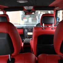 Mercedes benz g wagon classic red nappa leather and black alcantara inserts with bespoke quilting(15)