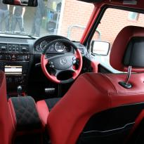 Mercedes benz g wagon classic red nappa leather and black alcantara inserts with bespoke quilting(21)