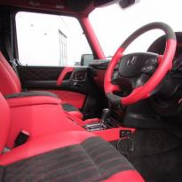 Mercedes benz g wagon classic red nappa leather and black alcantara inserts with bespoke quilting(5)