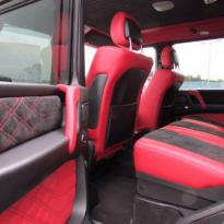 Mercedes benz g wagon classic red nappa leather and black alcantara inserts with bespoke quilting(8)