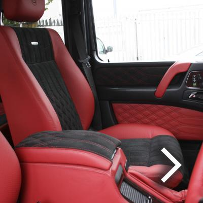 Mercedes benz g wagon classic red nappa leather and black alcantara inserts with bespoke quilting copy
