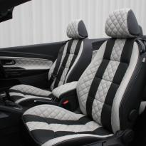 Vw eos sport black leather with portland grey guilted centre stripe and inner wings(2)