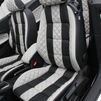 Vw eos sport black leather with portland grey guilted centre stripe and inner wings(3)