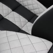 Vw eos sport black leather with portland grey guilted centre stripe and inner wings(6)